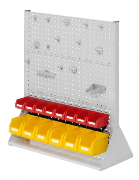 RasterPlan Stellwand Gr.3 doppelseitig, H1100 x B1000 x T430 mm, 7035. 1 x Werkzeughaltersortiment 15-teilig, 8 x Lsk. Gr. 7, 6 x Lsk. Gr. 6.