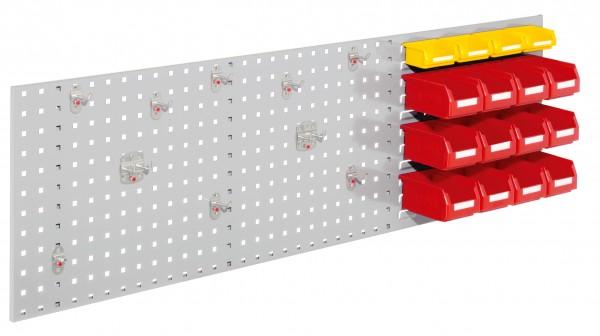 ®RasterPlan Kombiplatte Set 2, RAL 7035. 1 x Kombiplatte H 450 x B 1500 mm, 12 x Lagersichtkästen Größe 7, 4 x Lagersichtkästen, Größe 8, 1 x Werkzeughaltersortiment 10-teilig.