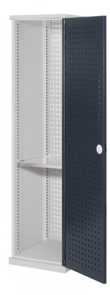 ®RasterPlan Schubladenschrank schmal Mod 2, 1950 x 600 x 600 mm, 7035/7016, Lochplattentür. 1 Fachboden verzinkt.
