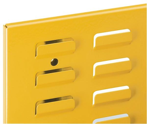 ®RasterPlan Schlitzplatte B 450 mm x H 500 mm Hochformat RAL 1006 - Maisgelb Universell kombinier- und einsetzbar. Kompatibel mit ®RasterPlan Lochplatten.