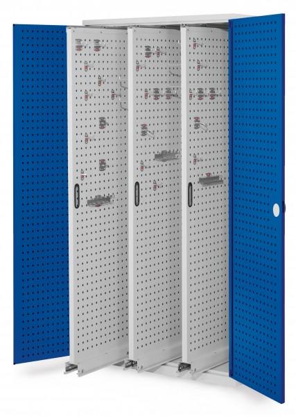 RasterPlan Vertikalschrank Modell 85, 1950 x 1000 x 600 mm, RAL 7035/5010. Türinnenseite: RasterPlan Lochplatten. 3 Auszüge Lochplatten.
