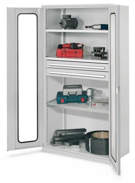 Schwerlastschrank ohne Mitteltrennwand, 1950 x 1000 x 600 mm, Mod 45, RAL 7035. Sichtfenstertüren, 3 Fachböden verzinkt, 2 Schubladen H 100 mm