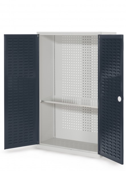 RasterPlan Werkzeugschrank Mod. 3 410, H1600 x B1000 xT 410 mm, RAL 7035/7016. Türinnenseite: RasterPlan Schlitzplatten, 1 Fachboden.