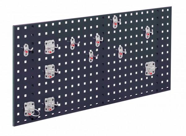 RasterPlan Einsteigerset 2, RAL 7016. 1 x Lochplatte H 450 x B 1000 mm, 1 x Werkzeughaltersortiment 12-teilig.