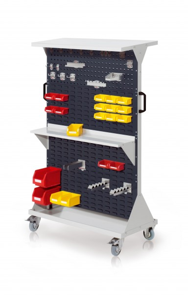 RasterMobil Gr. 4 RAL 7035/7016, H1620 x B1000 x T500 mm. 1 x Ablageboden aus Stahlblech, 1 x Werkzeughaltersortiment 18-teilig, 1 x Stahlboden 950 mm, 1 x Gabelträger, 2 x Wellenträger, 2 x Lsk. Gr. 6, 3 x Lsk. Gr. 7, 15 x Lsk. Gr. 8