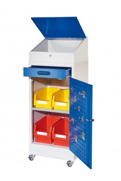 ®RasterPlan Arbeitsplatzschrank 1 Plus mobil, H 1200 x B 500 x T 500 mm Türinnenseite: ®RasterPlan Lochplatten, RAL 7035/5010, 1 Schublade, 1 Boden, 1 Pultaufsatz, 1 Mobiler Rahmen.