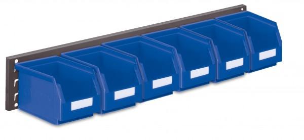 ®RasterPlan Wandschiene Schlitzplatte Set 8, L 920 mm, x H 140 mm, RAL 7016. 6 x Lagersichtkästen Größe 6.