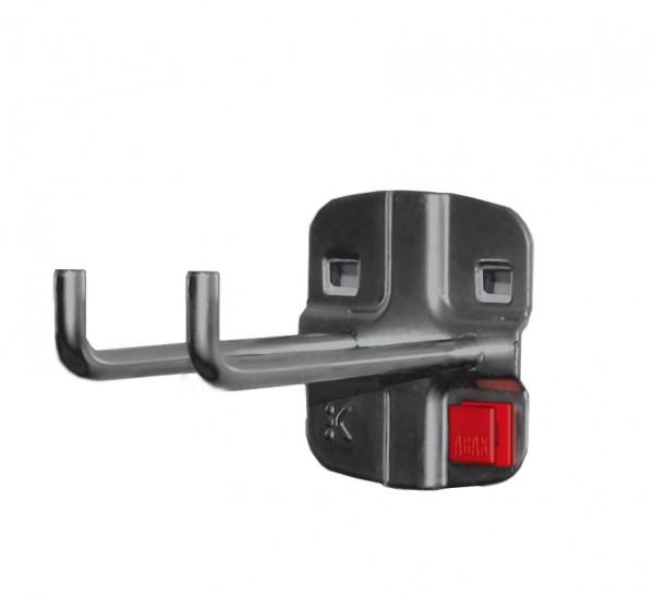 ®RasterPlan/ABAX® Doppelter Werkzeughalter, senkrechtes Hakenende Länge 75 mm Anthrazitgrau