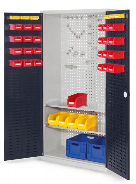 RasterPlan Werkzeugschrank Mod 5 500, H1950 x B1000 x T500 mm, RAL 7035/7016. Türinnenseite: RasterPlan Schlitzplatten, 2 Fachböden.