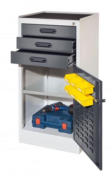®RasterPlan Arbeitsplatzschrank Modell 2, Innentür ®RasterPlan Lochplatte. RAL 7035/7016, 3 Schubladen, 1 Boden.