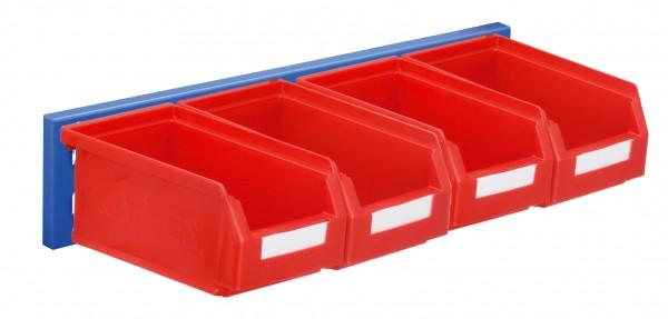 ®RasterPlan Wandschiene Schlitzplatte Set 4, L 460 mm, x H 100 mm, RAL 5010. 4 x Lagersichtkästen Größe 7.