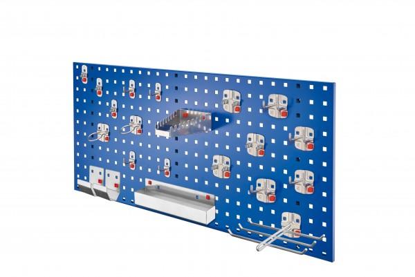 RasterPlan/ ABAX Lochplatten Einsteigerset 7, RAL 5010. Bestehend aus 1 Lochplatte 1000 mm, 1 ABAX Werkzeughaltersortiment 21-teilig,