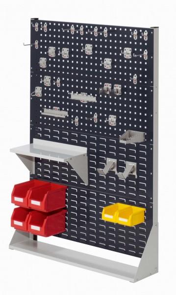 ®RasterPlan Stellwand Gr.4 einseitig, H1450 x B1000 x T240 mm, RAL 7035/7016. 1 x Werkzeughaltersortiment 28-teilig, 1 x Stahlboden 450 mm, 2 x Dornträger, 4 x Lagersichtkästen Größe 6, 2 x Lagersichtkästen Größe 7.