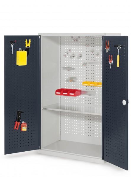 RasterPlan Werkzeugschrank Mod 3 500, H1600 x B1000 x T500 mm, RAL 7035/7016. Türinnenseite: RasterPlan Lochplatte, 1 Fachboden.