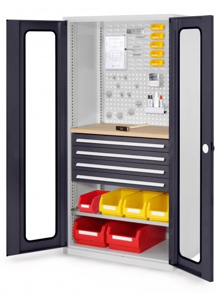 RasterPlan Schubladenschrank, Modell 36, RAL 7035/7016. Sichtfenstertüren 1950 x 1000 x 600 mm, mm 4 Schubladen H 100 mm, mm 1 Fachböden verzinkt 1 Werkbankplatte Multiplex.