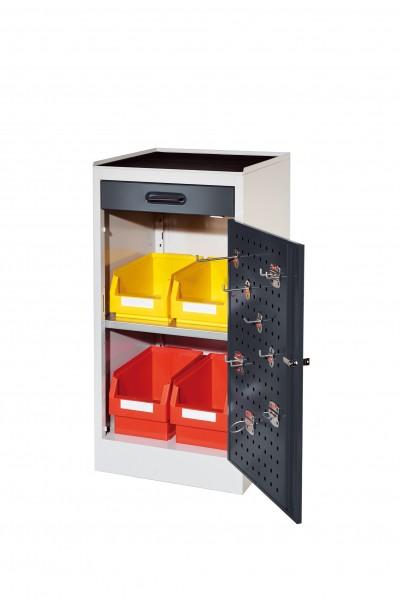 RasterPlan Arbeitsplatzschrank Modell 1, 1000 x 500 x 500 mm. RAL 7035/7016, Türinnenseite: RasterPlan Lochplatten, 1 Schublade, 1 Boden.