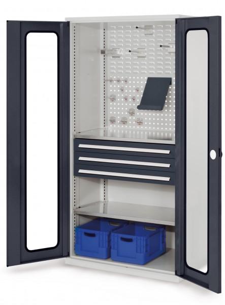 ®RasterPlan Schubladenschrank, Modell 32, RAL 7035/7016. Sichtfenstertür. 1950 x 1000 x 600 mm, 3 Schubladen H 100 mm, 2 Fachböden verzinkt.
