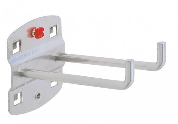 RasterPlan Doppelter Werkzeughalter, L 75 mm, senkrechtes Hakenende alufarben.