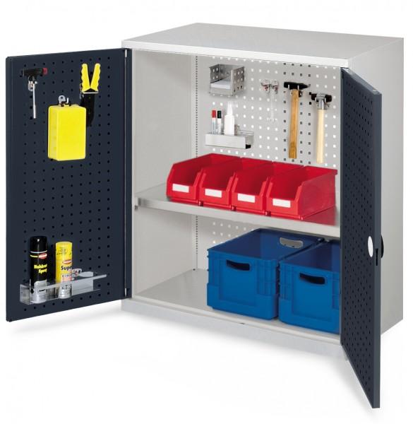 RasterPlan Werkzeugschrank Mod. 2 500, H1000 x B1000 x T500 mm, RAL 7035/7016. Türinnenseite: RasterPlan Lochplatte, 1 Fachboden.