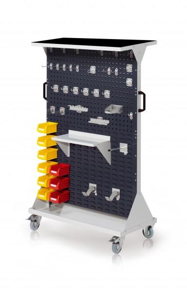 RasterMobil Gr. 4 RAL 7035/7016, H1620 x B1000 x T500 mm. 1 x Auflageboden aus Stahlblech inkl. Riffelgummimatte, 1 x Werkzeughaltersort. 28-teilig, 1 x Stahlboden 450 mm, 1 x Universalhalter, 2 x Dornträger, 9 x Lsk. Gr. 7.
