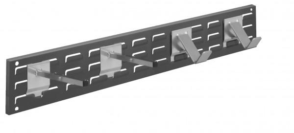 RasterPlan Wandschiene Schlitzplatte Set 9, L 920 mm, x H 140 mm, RAL 7016. 2 x Universalhalter, 2 x Dornträger.