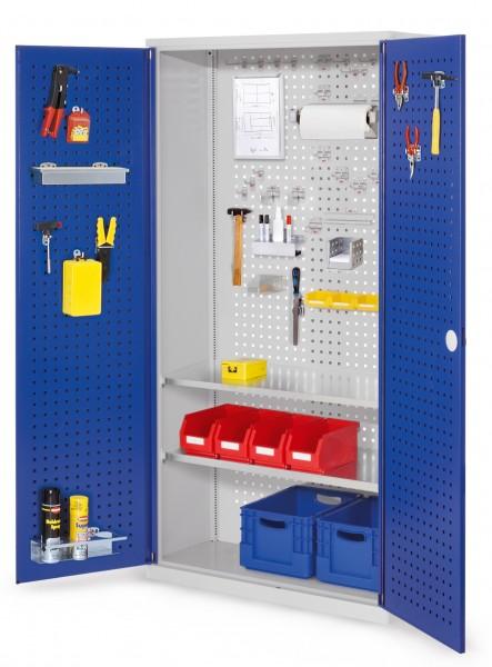 RasterPlan Werkzeugschrank Mod 5 410, H1950 x B1000 x T410 mm, RAL 7035/5010. Türinnenseite: RasterPlan Lochplatten,, 2 Fachböden.