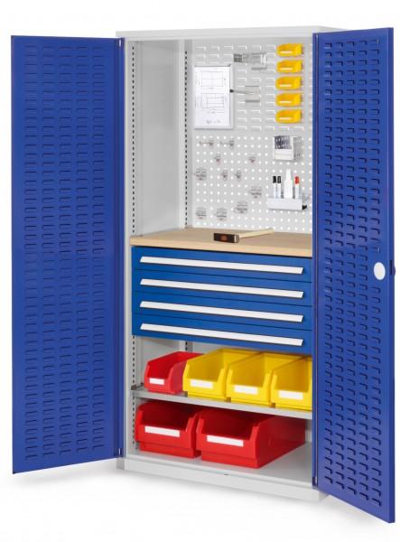 RasterPlan Schubladenschrank, Modell 26, RAL 7035/5010. Türinnenseite: Schlitzplatten 1950 x 1000 x 600 mm, 4 Schubladen H 100 mm, 1 Fachboden verzinkt, 1 Werkbankplatte Multiplex.