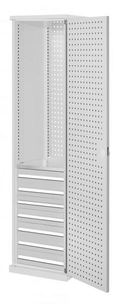 RasterPlan Schubladenschrank schmal Mod 5, 1950 x 600 x 600 mm, 7035, Lochplattentür. 1 Fachboden verzinkt, 7 Schubladen 125 mm.