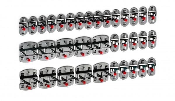 ®RasterPlan Werkzeughalter-Sortiment 35-teilig Anthrazitgrau 5 Werkzeughalter, schräges Hakenende, 5 Werkzeughalter, senkrechtes Hakenende, 10 Doppelte Werkzeughalter, senkrechtes Hakenende, 15 Werkzeugklemmen