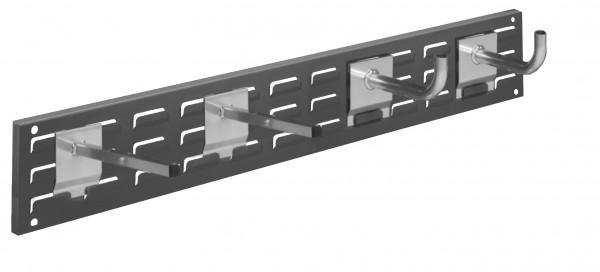 RasterPlan Wandschiene Schlitzplatte Set 12, L 920 mm, x H 140 mm, RAL 7016. 2 x Universalhalter, 2 x Rohrträger.