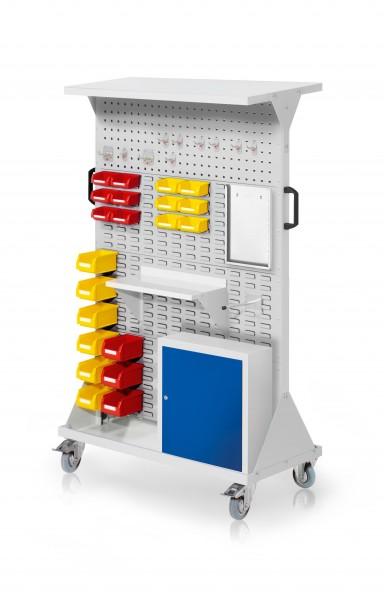 RasterMobil Gr. 4 RAL 7035, H1620 x B1000 x T500 mm. 1 x Ablageboden aus Stahlblech, 1 x Werkzeughaltersortiment 10-teilig, 1 x Stahlboden 450 mm, 1 x Formularhalter A4, 1 x Universalhalter, 1 x Einhängeschrank, 9 x Lsk. Gr. 7, 12 x Lsk. Gr. 8