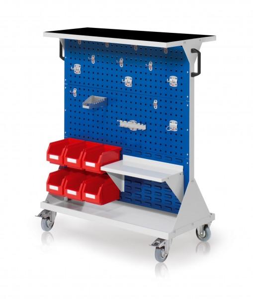 RasterMobil Gr. 3 RAL 7035/5010, H 1270 x B 1000 x T 500 mm. 1 x Auflageboden aus Stahlblech inkl. Riffelgummimatte, 1 x Werkzeughaltersort. 15-teilig, 1 x Stahlboden 450 mm, 6 x Lagersichtkästen Größe 6.