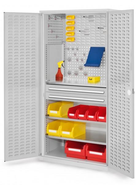 ®RasterPlan Schubladenschrank, Modell 21, RAL 7035. Türinnenseite: Schlitzplatten, 1950 x 1000 x 600 mm, 2 Schubladen H 100 mm, 3 Fachböden verzinkt.