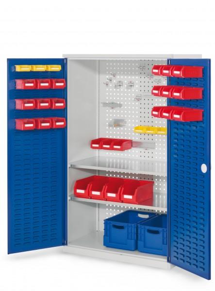®RasterPlan Werkzeugschrank Mod 4 500, H1600 x B1000 x T500 mm, RAL 7035/5010. Türinnenseite: ®RasterPlan Lochplatte, 1 Fachboden.