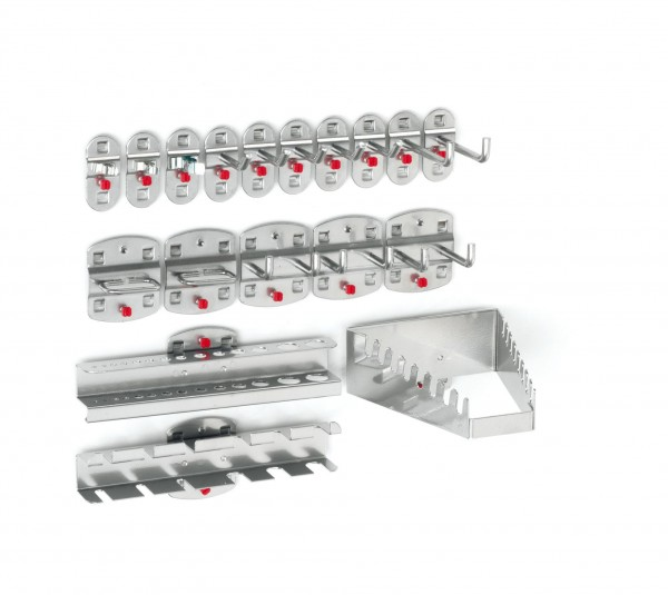 ®RasterPlan Werkzeughalter-Sortiment 18-teilig Alufarben 5 Werkzeughalter, schräges Hakenende, 2 Werkzeughalter, senkrechtes Hakenende, 3 Doppelte Werkzeughalter, senkrechtes Hakenende, 3 Werkzeugklemmen, 2 Zangenhalter, 1 Bohrerhalter, 1 Schraubensc