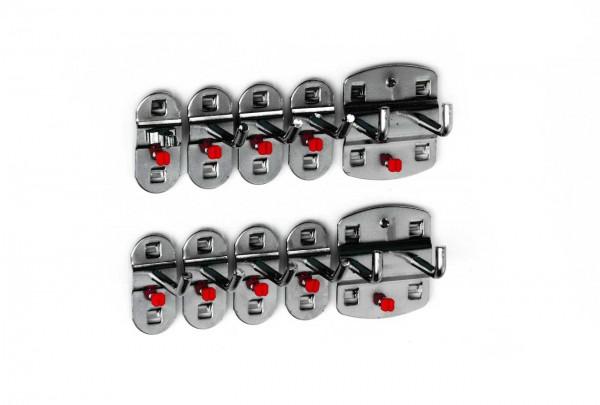 ®RasterPlan Werkzeughalter-Sortiment 10-teilig Anthrazitgrau 7 Werkzeughalter, schräges Hakenende, 2 Doppelte Werkzeughalter, senkrechtes Hakenende, 1 Werkzeugklemme