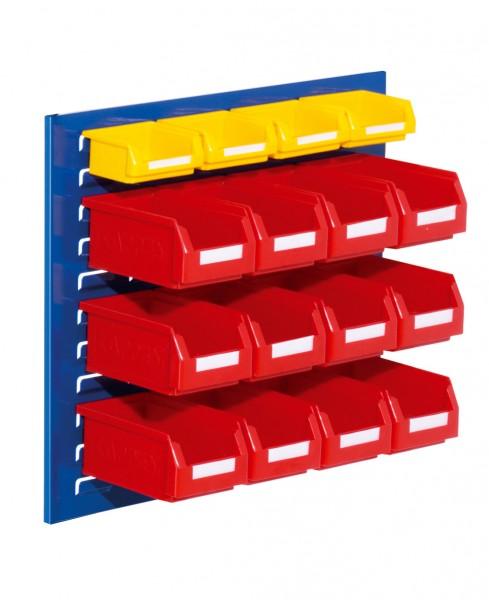 ®RasterPlan Schlitzplatten Einsteigerset 10, RAL 5010. 1 x Schlitzplatte H 450 x B 500 mm, 12 x Lagersichtkästen Größe 7, 4 x Lagersichtkästen Größe 8.