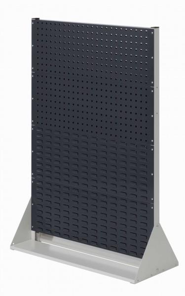 RasterPlan Stellwand Gr.4 doppelseitig, H1450 x B1000 x T430 mm, RAL 7035/7016. 4 Lochplatten, 4 Schlitzplatten.