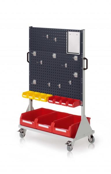 RasterMobil Gr. 4 RAL 7035/7016, H1580 x B1000 x T500 mm. 1 x Werkzeughaltersort. 12-teilig, 1 x Formularhalter A4, 1 x Lagersichtkastenhalter 990 mm, 8 x Lsk. Gr. 7, 3 x Lsk. Gr. 2.