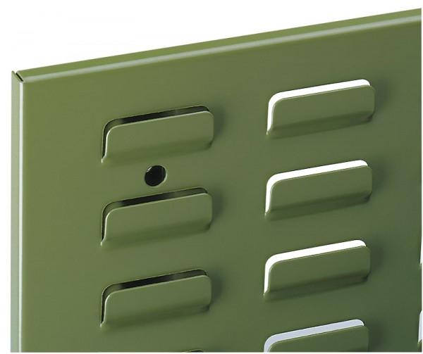 ®RasterPlan Schlitzplatte B 450 mm x H 500 mm Hochformat RAL 6011 - Resedagrün Universell kombinier- und einsetzbar. Kompatibel mit ®RasterPlan Lochplatten.