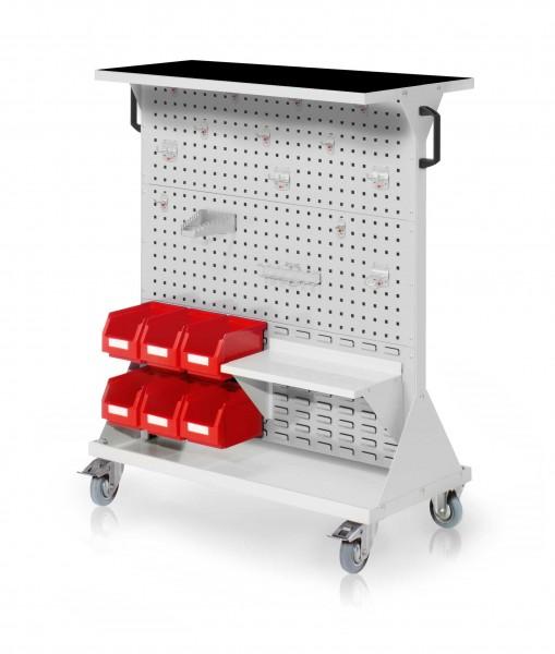 RasterMobil Gr. 3 RAL 7035, H1270 x B1000 x T500 mm. 1 x Auflageboden aus Stahlblech inkl. Riffelgummimatte, 1 x Werkzeughaltersort. 15-teilig, 1 x Stahlboden 450 mm, 6 x Lagersichtkästen Größe 6.