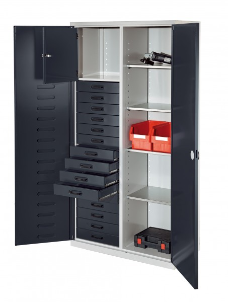 RasterPlan Arbeitsplatzhochschrank, H 1950 x B 1000 x T500 mm, RAL7035/7016. Inklusiv 15 Schubladen, 1 Privatfach, 4 Fachböden verzinkt