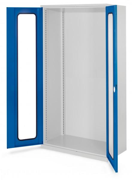 Schwerlastschrank Leergehäuse/Mod 40, 1950 x 1000 x 600 mm, RAL 7035/5010. Ohne Mitteltrennwand, Sichtfenstertüren.