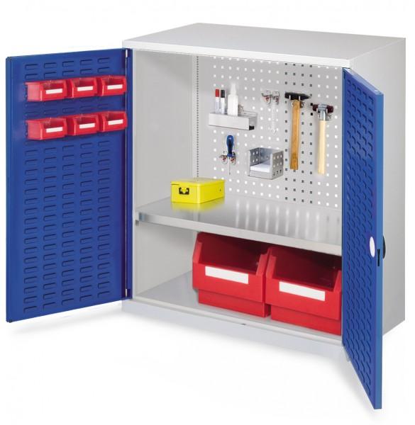 ®RasterPlan Werkzeugschrank Mod. 2 500, H1000 x B1000 x T500 RAL 7035/5010. Türinnenseite: ®RasterPlan Schlitzplatte, 1 Fachboden.