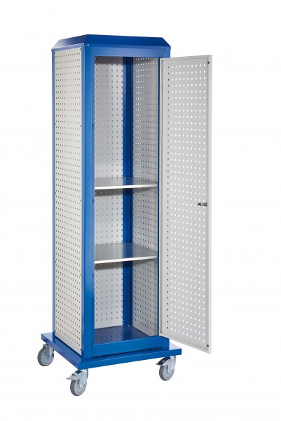 RasterPlan ToolTower groß Mod 5, mobil, RAL 7035/5010. 3 LP aussen groß, 2 LP innen groß, 1 LP Tür, 2 Fachböden.