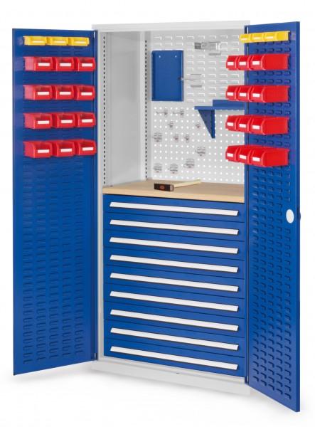 ®RasterPlan Schubladenschrank, Modell 27, RAL 703575010. Türinnenseite: Schlitzplatten 1950 x 1000 x 600 mm, 9 Schubladen H 100 mm, 1 Werkbankplatte Multiplex.