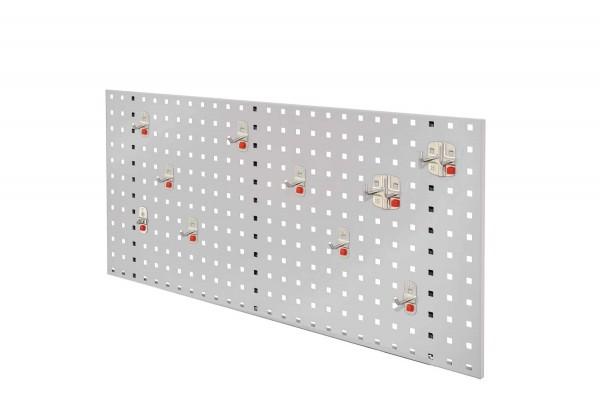®RasterPlan/ABAX Lochplatten Einsteigerset 1, RAL 7035. Bestehend aus 1 Lochplatte 1000 mm, 1 ABAX Werkzeughaltersortiment 10-teilig,