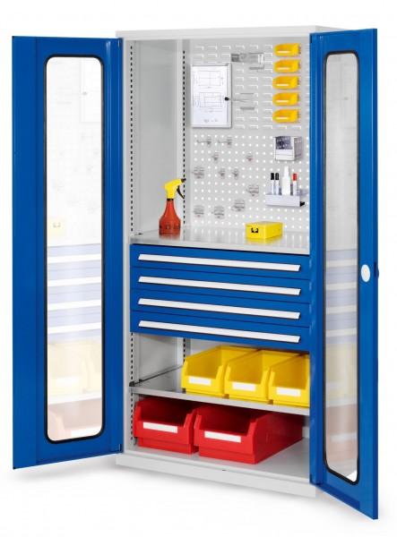 ®RasterPlan Schubladenschrank, Modell 33, RAL 7035/5010. Sichfenstertür. 1950 x 1000 x 600 mm, 4 Schubladen H 100 mm, 2 Fachböden verzinkt.