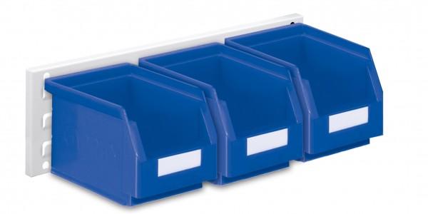®RasterPlan Wandschiene Schlitzplatte Set 7, L 460 mm, x H 140 mm, RAL 7035. 3 x Lagersichtkästen Größe 6.
