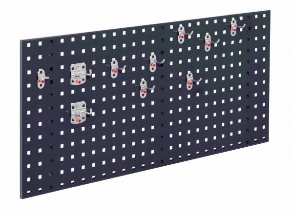 RasterPlan Einsteigerset 5, RAL 7016. 1 x Lochplatte H 450 x B 1000 mm, 1 x Werkzeughaltersortiment 10-teilig